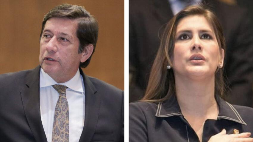 Los asambleístas socialcristianos César Rohón y María Cristina Reyes, 1 de julio de 2020.