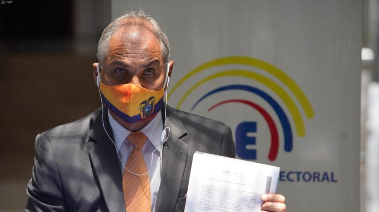 El candidato presidencial de Justicia Social, Fabricio Correa, durante la aceptación de su candidatura, el 30 de agosto de 2020.