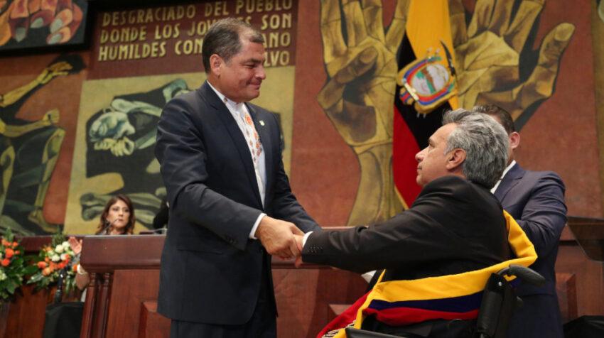 Rafael Correa entregó el poder a su sucesor Lenín Moreno, el 24 de mayo de 2017.