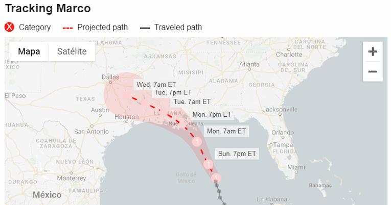 Ruta del huracán Marco