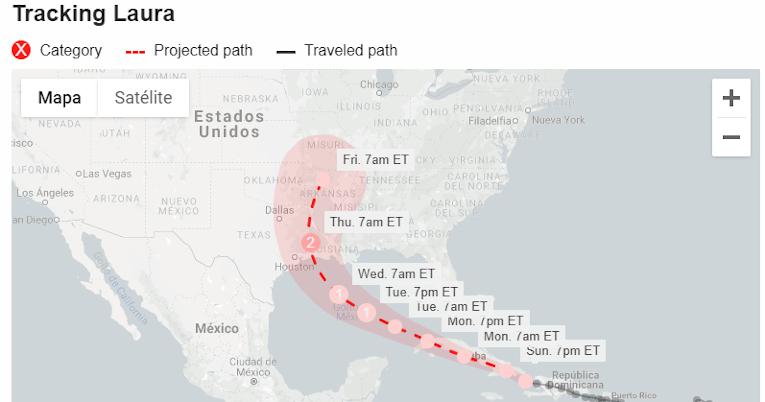Ruta de la tormenta Laura