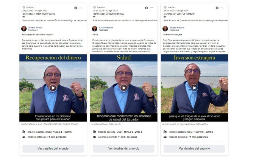 Seis anuncios de Álvaro Noboa en Facebook, entre julio y agosto de 2020, costaron más de USD 1.500.