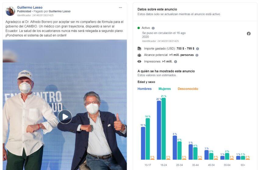El anuncio del binomio presidencial Lasso-Borrero pautado en Facebook, en agosto de 2020.