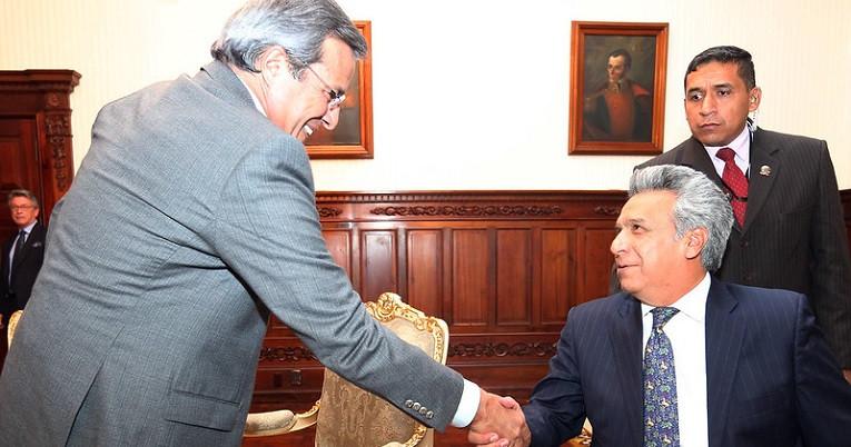 El exprefecto del Guayas, Jimmy Jairala, visitó al presidente Lenín Moreno en Carondelet, el 28 de junio de 2017.