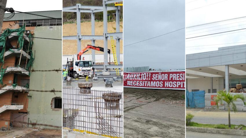 Manta, Bahía, Pedernales y Chone. Los cuatro hospitales que ofrecieron construirse en Manabí tras el terremoto de 2016 siguen pendientes.