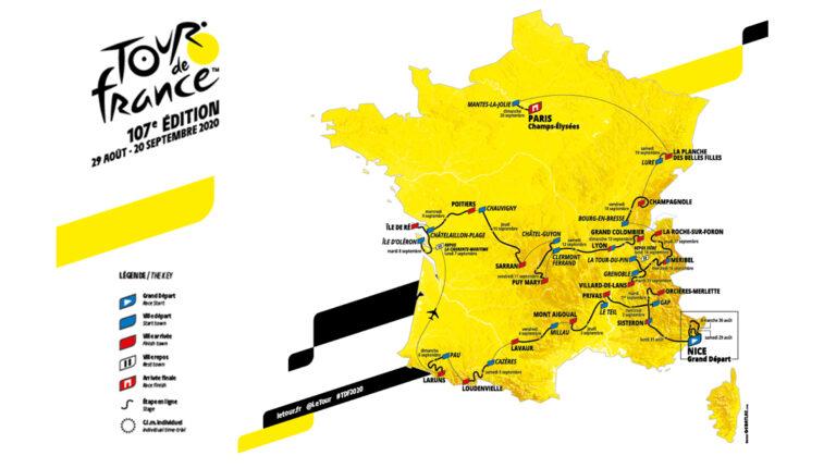 El Tour de Francia 2020 recorrerá el centro y el sur del país, durante las 21 etapas.