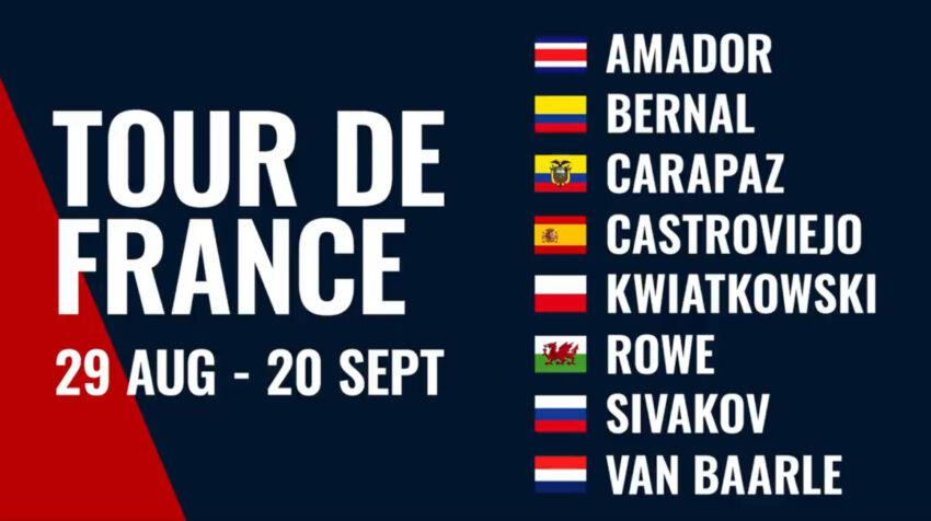 Esta es la alineación del Team Ineos para el Tour de Francia, con Richard Carapaz y Egan Bernal como líderes.