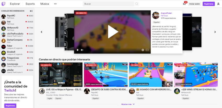 Página principal de Twitch.
