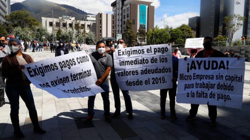 Proveedores del Estado exigieron a Finanzas el pago de sus deudas el 7 de agosto de 2020, en Quito.