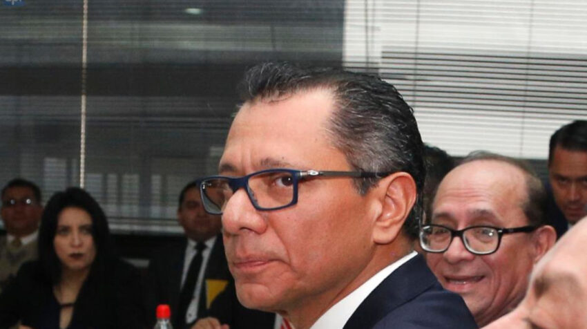 El exvicepresidente Jorge Glas durante el juicio por el caso de asociación ilícita en 2017.