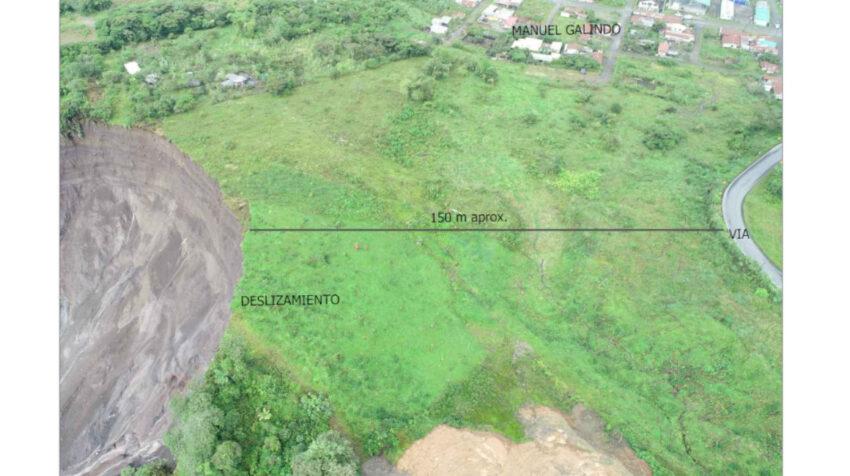 Foto del avance del deslizamiento en expansión lateral, el 1 de agosto de 2020.