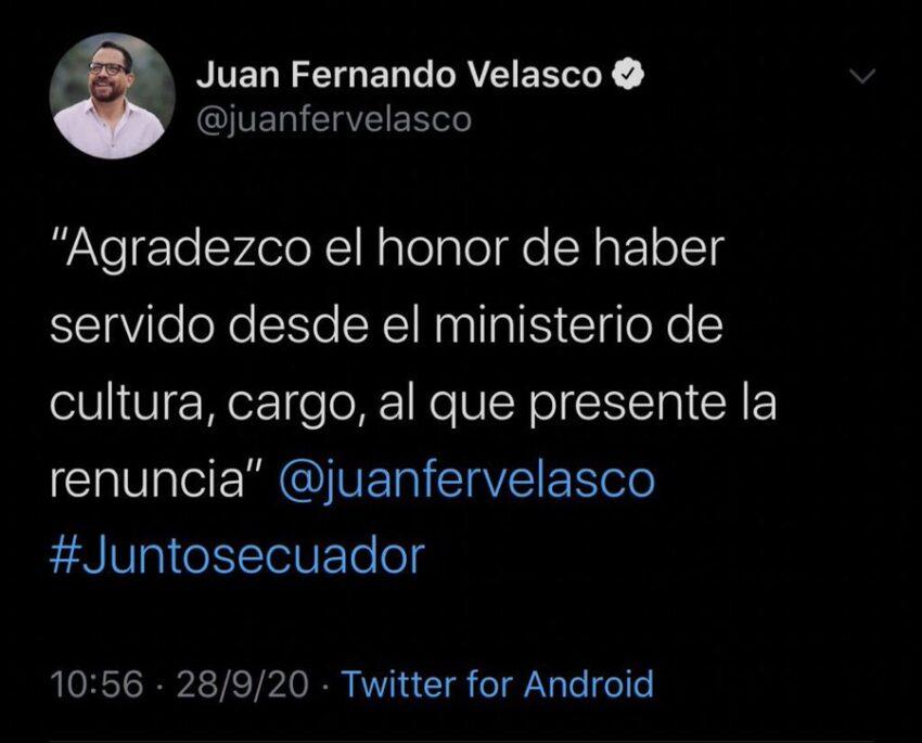 Tuit en el que Velasco anunciaba su renuncia al cargo de Ministro de Cultura y que luego fue borrado.