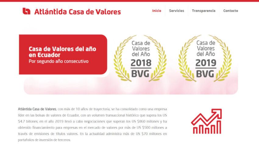 Página web de Atlántida Casa de Valores.