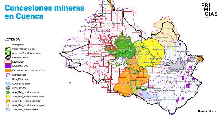En Cuenca existen 108 concesiones mineras.