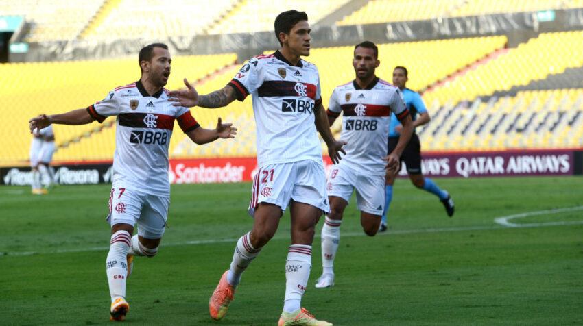 Pedro, jugador de Flamengo, celebra el 0-1 frente a Barcelona, el martes 22 de septiembre de 2020 por Copa Libertadores.