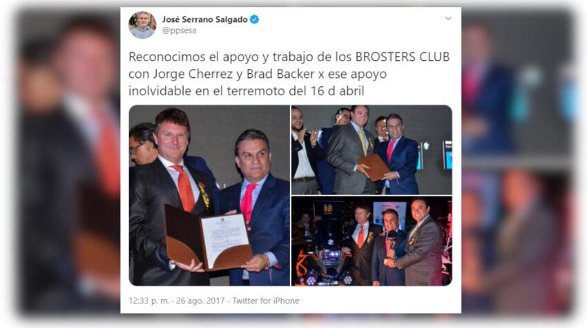 Tuit de José Serrano con Jorge Chérrez, el 26 de gosto de 2017.