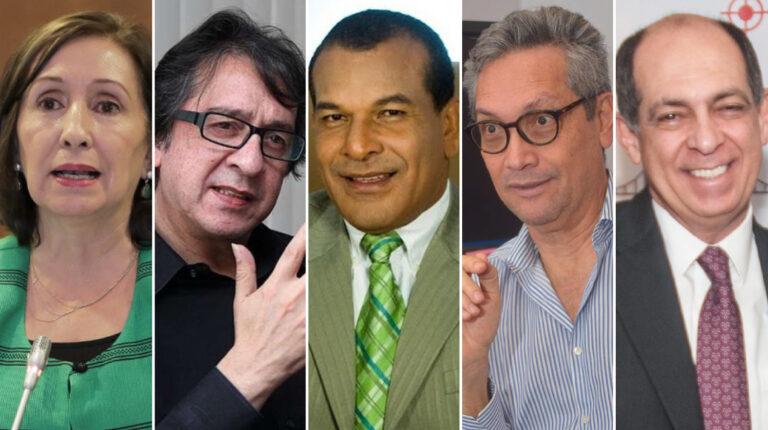 De izq. a der. Doris Soliz, Galo Mora, Jimmy Salazar, Tomislav Topic y José  Conceição Santos fueron nombrados en la sentencia del caso Sobornos.
