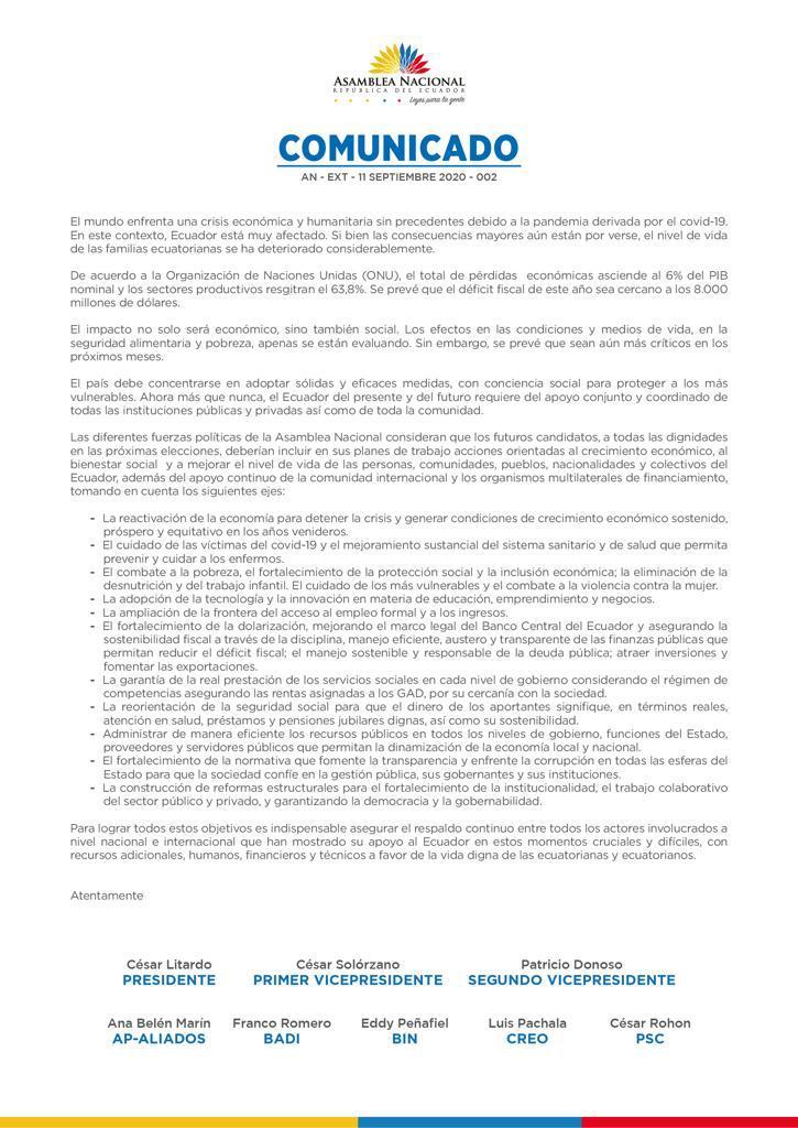 La Asamblea emitió una carta de respaldo a los organismos multilaterales, el 11 de septiembre de 2020
