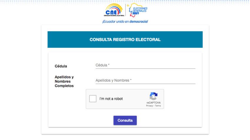 La página de búsqueda de lugar de votación del CNE.