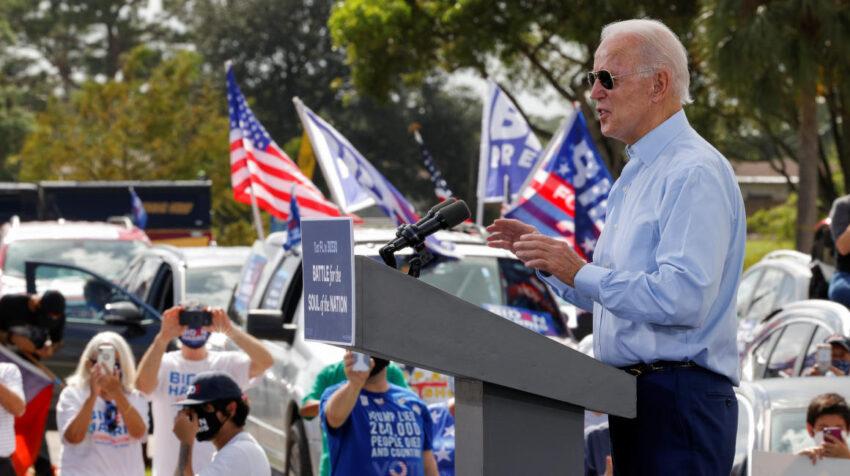 Joe Biden en un evento de campaña en Coconut Creek, Florida, el 29 de octubre de 2020.