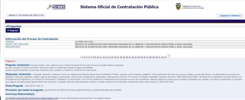 Captura de pantalla del Sistema de Contratación Pública.