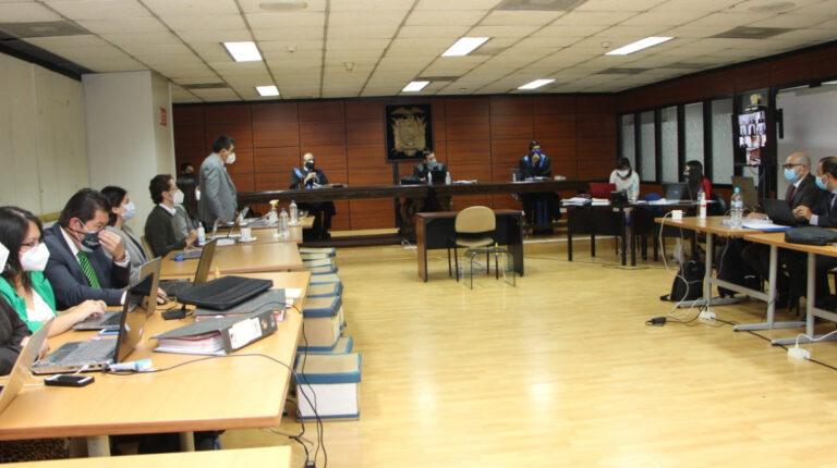 Audiencia de juicio del caso Singue, el 14 de octubre de 2020, en la Corte Nacional.