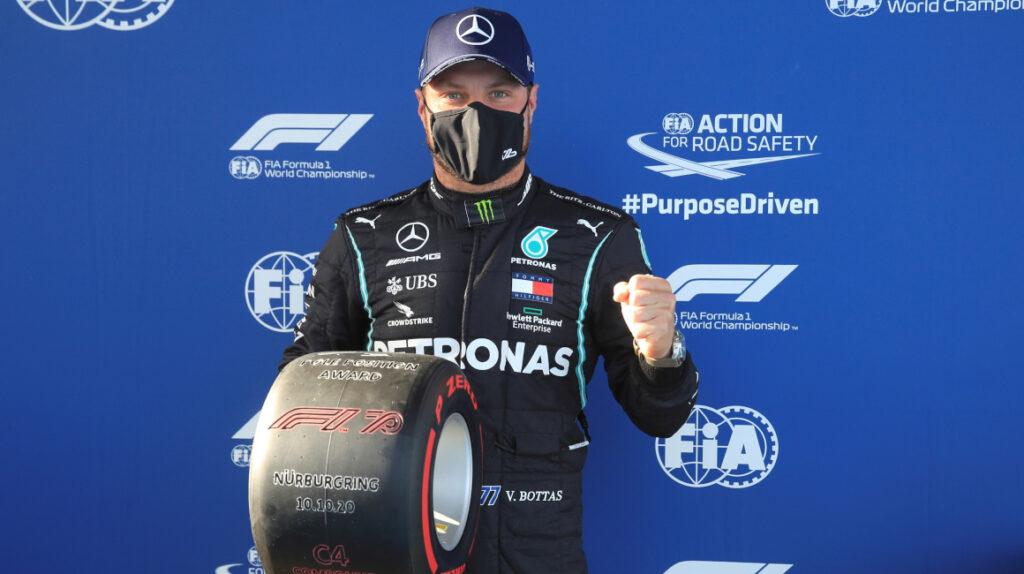 Valtteri Bottas ganó la 'pole' y saldrá primero en el Gran Premio de Eifel