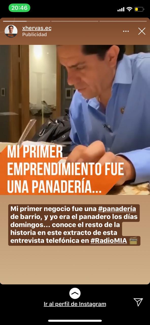 Propaganda de Xavier Hervas que aparece en Instagram.