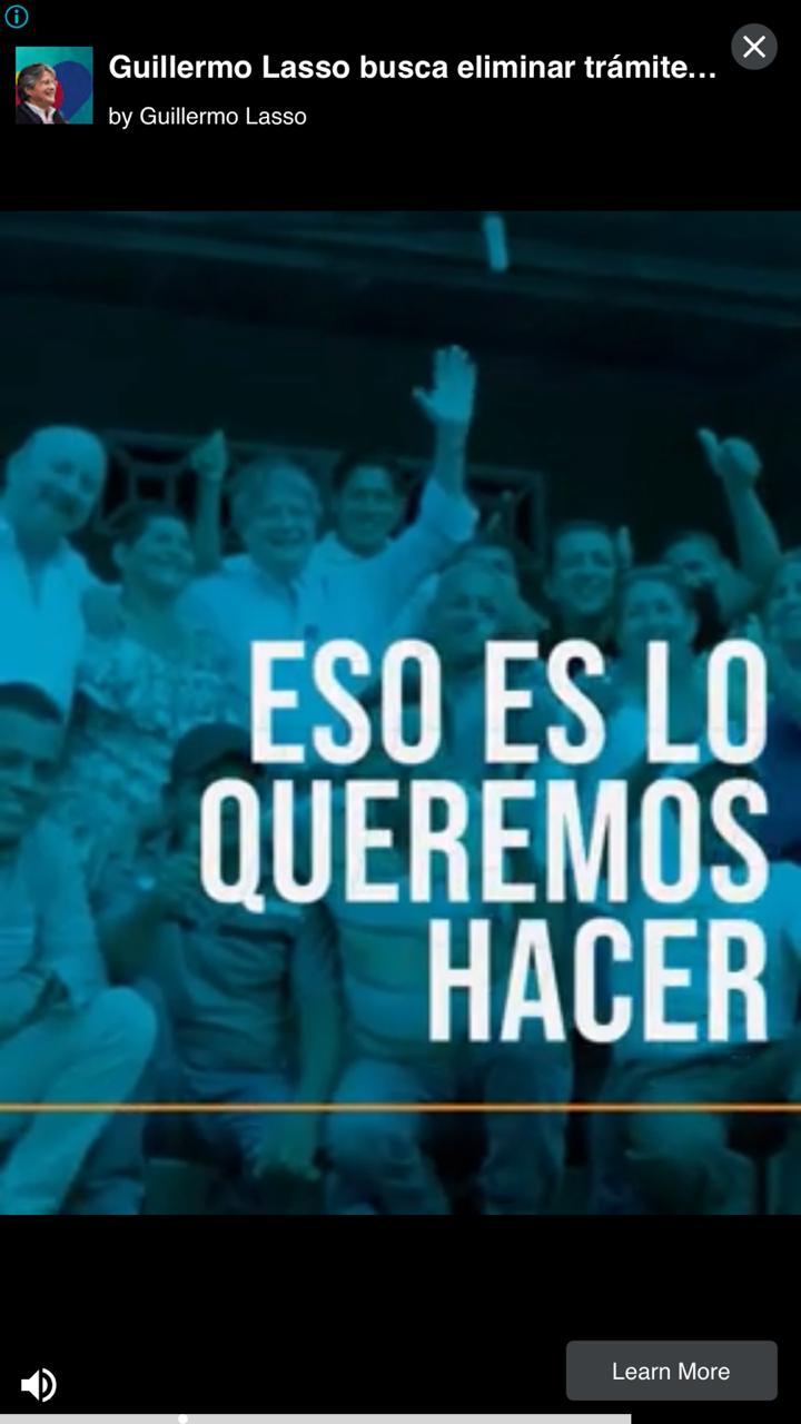 Propaganda de Guillermo Lasso que aparece en la publicidad de juegos en iOS.