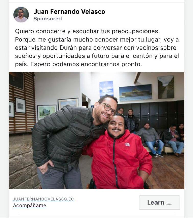 Propaganda de Juan Fernando Velasco que aparece en Facebook.