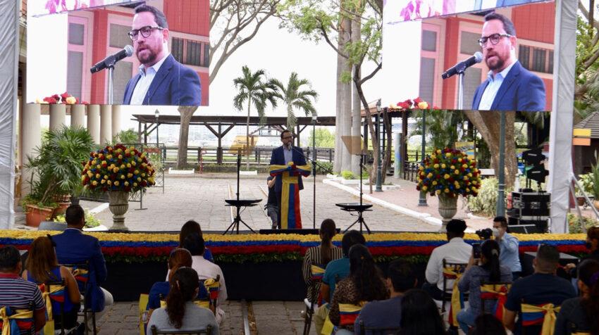 Juan Fernando Velasco lanzó su candidatura a la Presidencia con un evento en Guayaquil, el 28 de septiembre de 2020.