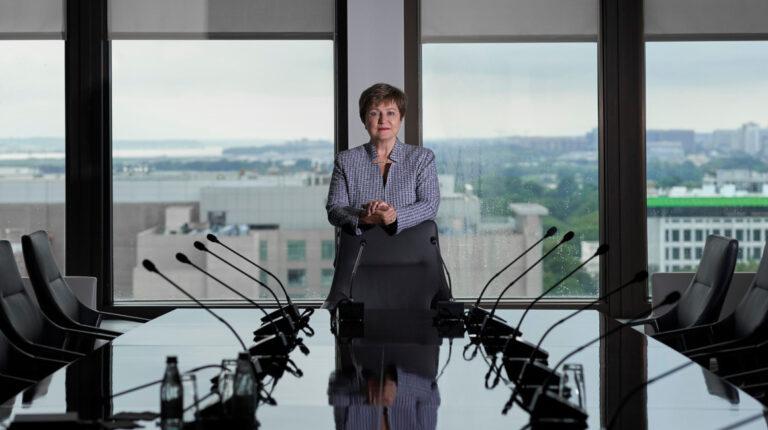 Una postal de Kristalina Georgieva, directora gerente de la sede del FMI, en Washington, este 11 de septiembre de 2020.