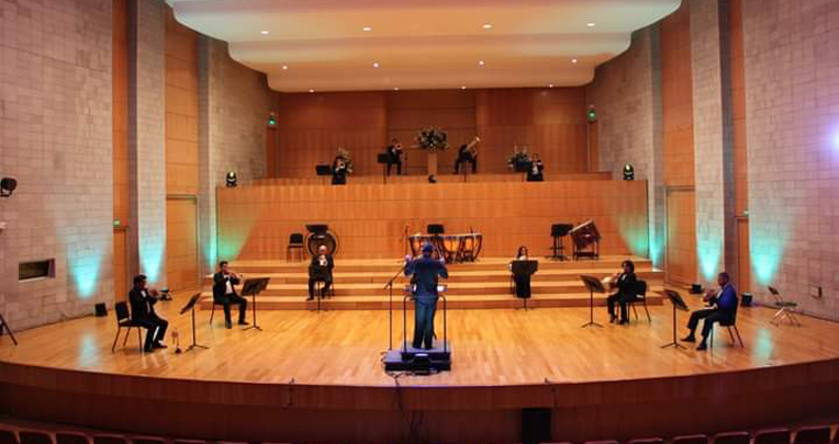 Sesión de ensayos de la Orquesta Sinfónica Nacional de Ecuador OSNE, noviembre de 2020.