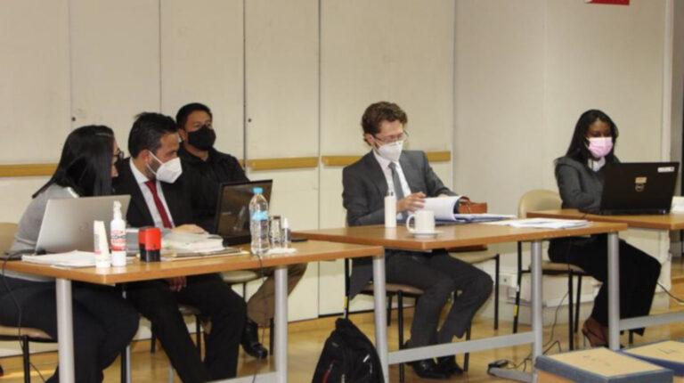 Los equipos de la Fiscalía y de la Procuraduría durante la audiencia de procedimiento abreviado del caso Hospital de Pedernales, el 9 de noviembre de 2020.