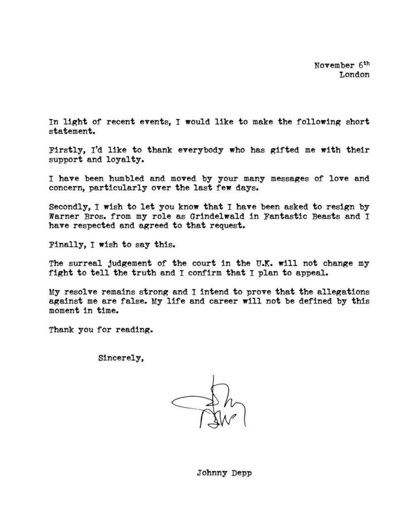 Carta de Johnny Depp publicada en Instagram.