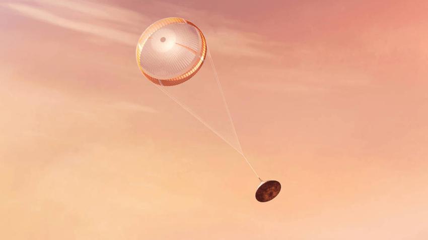 Una ilustración del rover Perseverance de la NASA amartizando de forma segura en Marte.