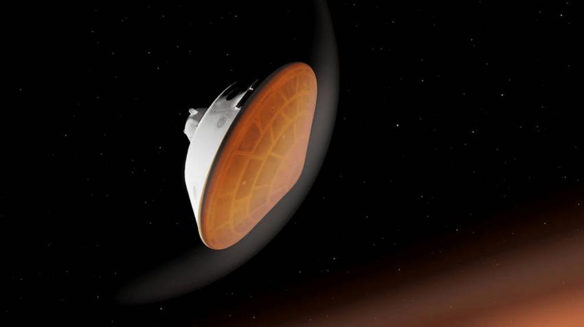 El rover Perseverance de la NASA comienza su descenso a través de la atmósfera marciana en esta ilustración