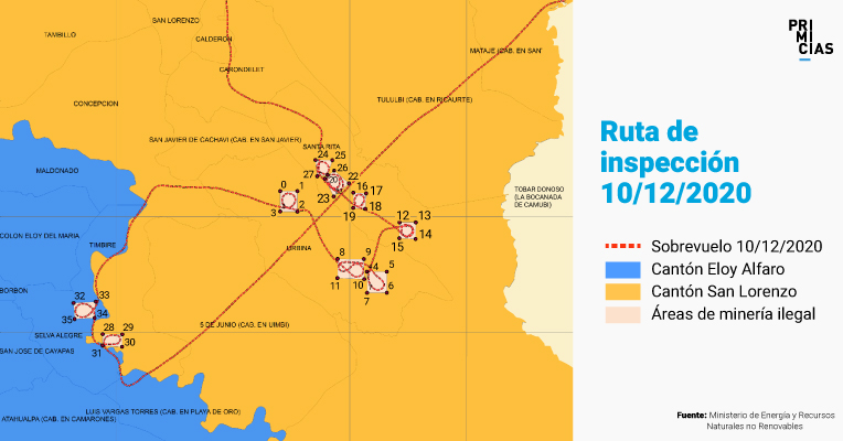 Ruta de las inspecciones realizadas por autoridades del Estado, en Esmeraldas.
