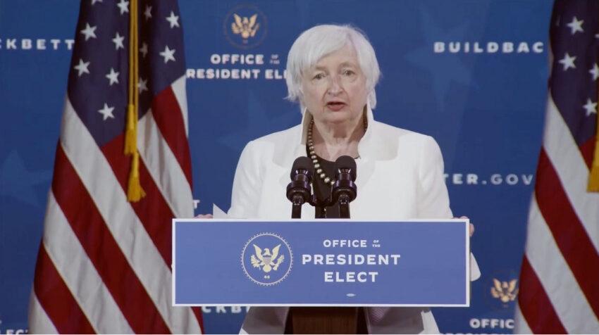 Janet Yellen, elegida por Biden como secretaria del Tesoro, en una conferencia el 30 de noviembre de 2020.