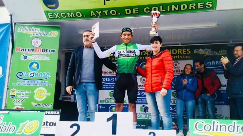Steven Haro obtuvo el primer lugar en el circuito de Colindres, España con el Caja Rural, en marzo de 2020.