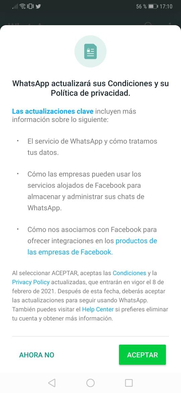 Términos y condiciones. Captura de pantalla de WhatsApp.