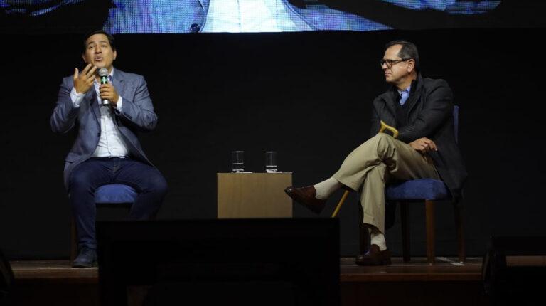 Andrés Arauz y Carlos Rabascall, la noche del 7 de febrero de 2021, se pronunciaron sobre los resultados preliminares de la elección.