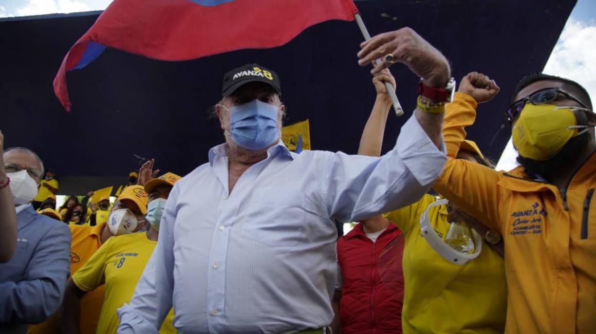 Cierre de campaña de Isidro Romero, candidato de Avanza, en Quito. 3 de febrero de 2021.