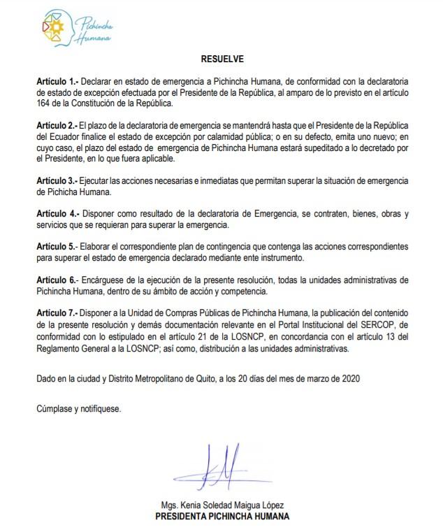 Resolución de emergencia de Pichincha Humana.