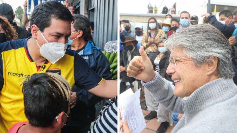 Andrés Arauz, del correísmo, y Guillermo Lasso, de Creo, en la campaña electoral. 30 de marzo de 2021.