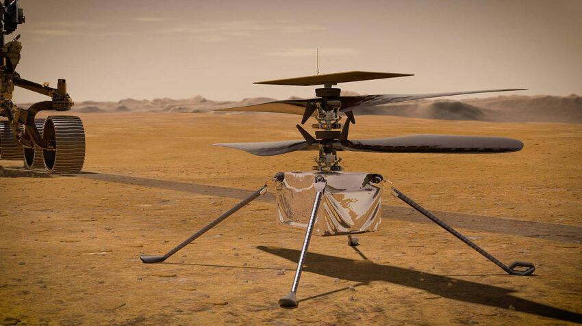 Una ilustración del helicóptero Ingenuity de la NASA volando en Marte.