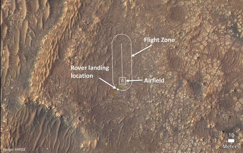Aeródromo en Marte para el despegue del helicóptero.