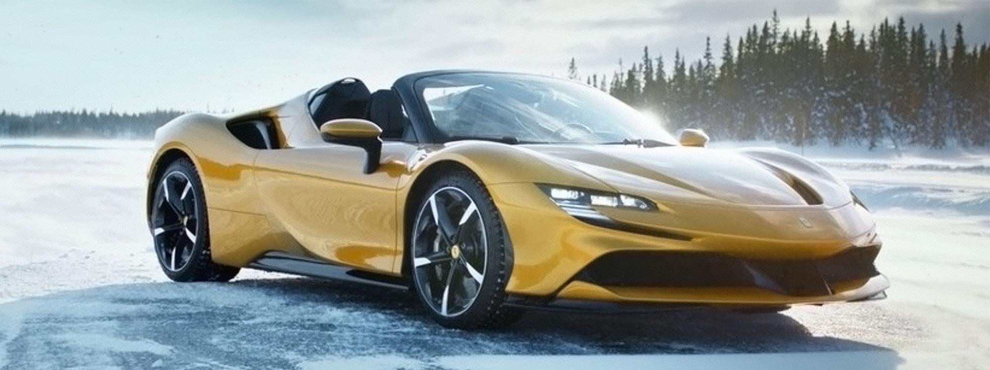 Ferrari Spider SF90 graba un comercial en el frío clima de Suecia