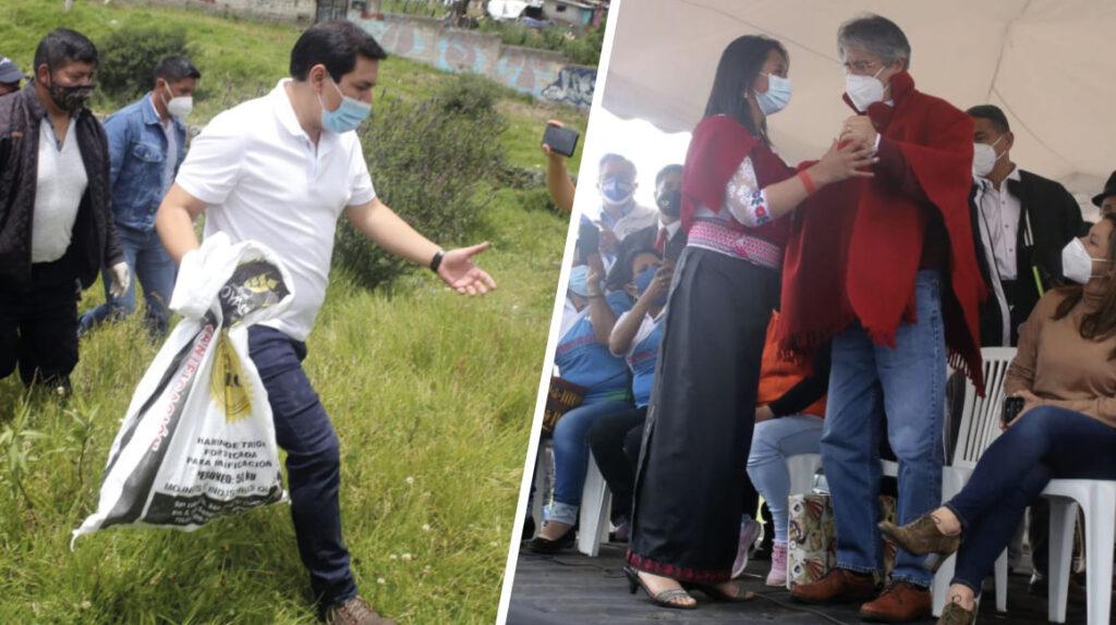 Arauz habla de amor y Lasso de encuentros en el primer día de campaña
