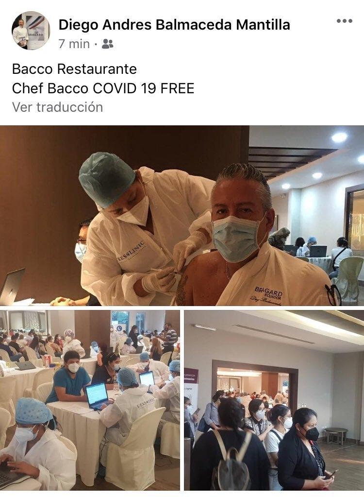 Post que el chef publicó en que se lo ve recibiendo la dosis.
